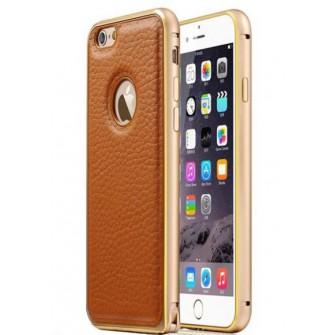 Металлический бампер с кожаной вставкой для iPhone 5/6S Plus